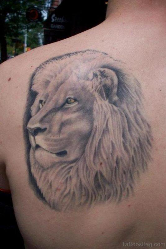 Lion face Tattoo Design On Back