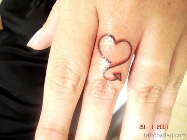 Little Heart Tattoo On Finger
