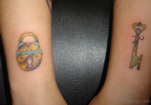 Lock And Key Wrist Tattoo