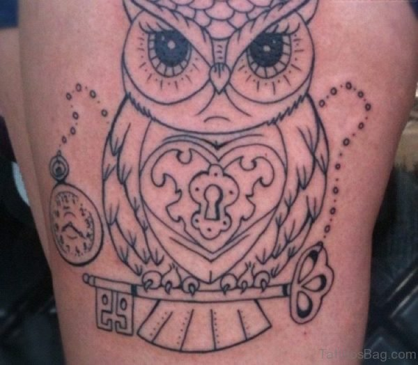 Lock And Owl Tattoo