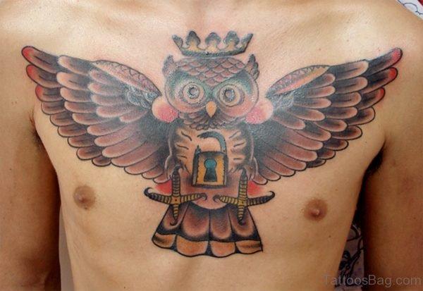 Lock And Owl Tattoo-TB1114