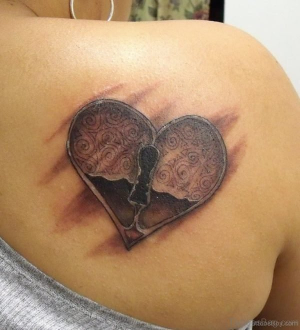 Locked Heart Tattoo On Back