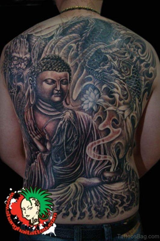Lord Buddha & Dragon Tattoo Design