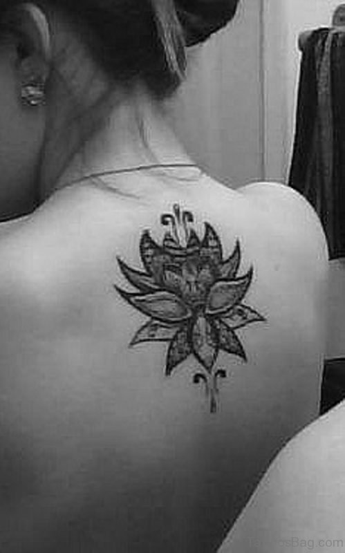 Grey Ink Lotus  Flower Tattoo on Back