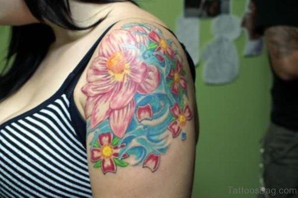 Lotus Tattoo On Upper Shoulder