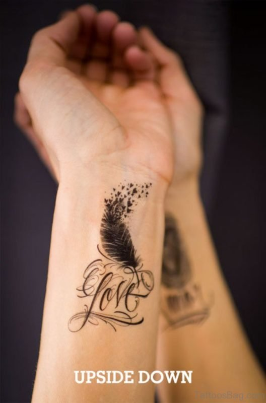 Love And Feather Tattoo On Wrist