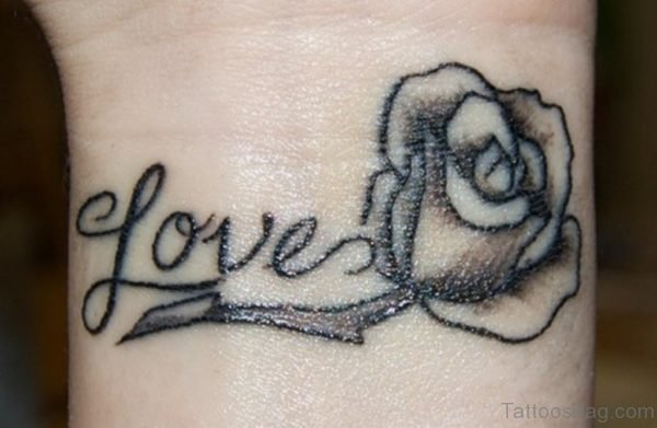 Love Black Rose Tattoo On Wrist