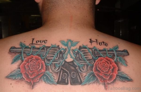 Love Hate Guns And  Roses On Upper Back