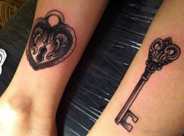 Love Heart Key Tattoo On Wrist