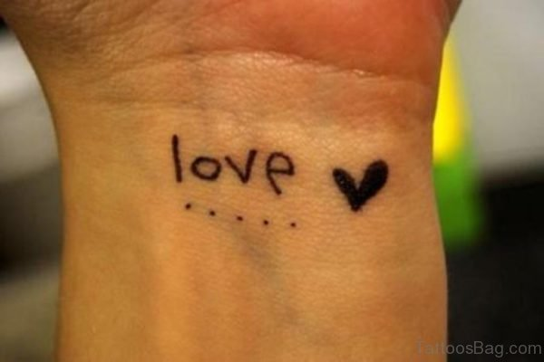 Love Heart Tattoo On Wrist