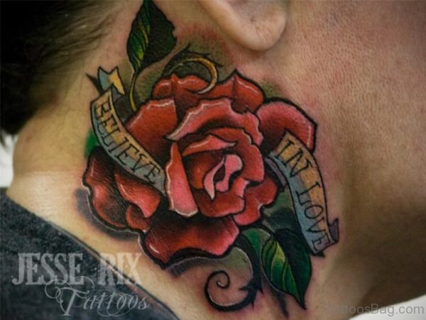Love Rose Neck Tattoo