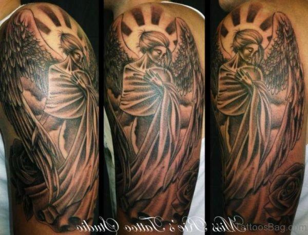 Lovely Angel Shoulder Tattoo Design