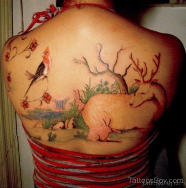 Lovely Bird Tattoo On Back