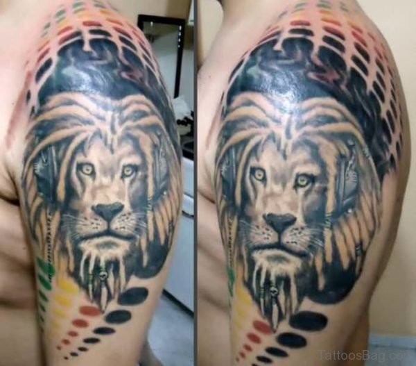 Lovely Black Lion Tattoo