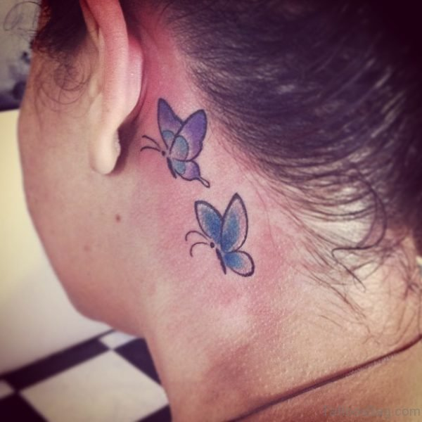 Lovely Butterflies Tattoo On Neck
