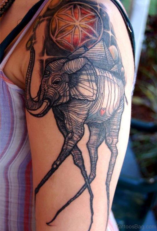 Lovely Designer Elephant Tattoo On Shoulder