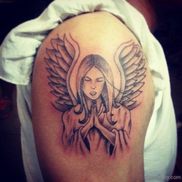 Lovely Designer angel Shoulder Tattoo