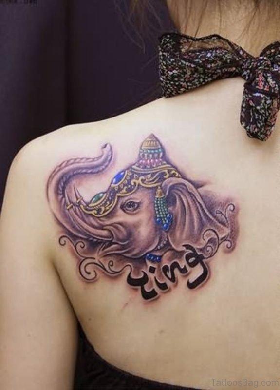 Lovely Elephant Tattoo On Left Shoulder