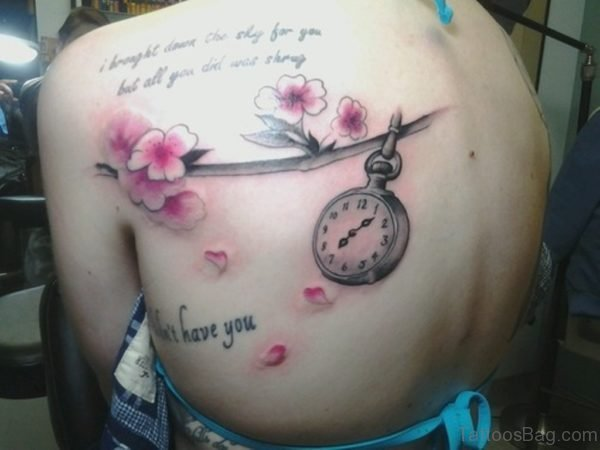 Lovely Flower And Clock Tattoo