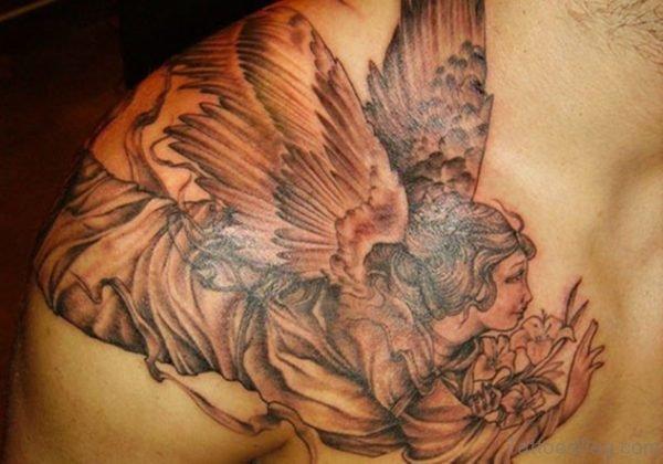 Lovely Girl Angel Shoulder Tattoo