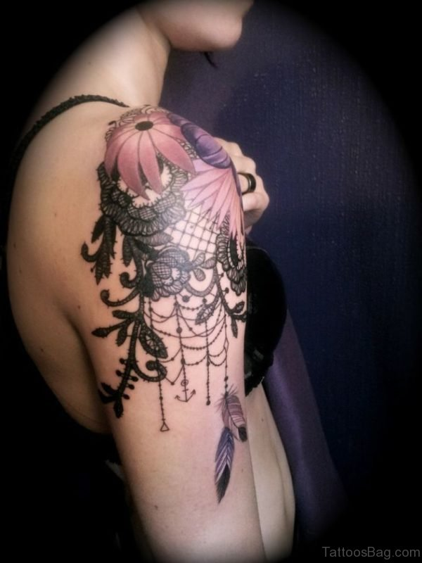 Lovely Hibiscus Flower Tattoo On Shoulder