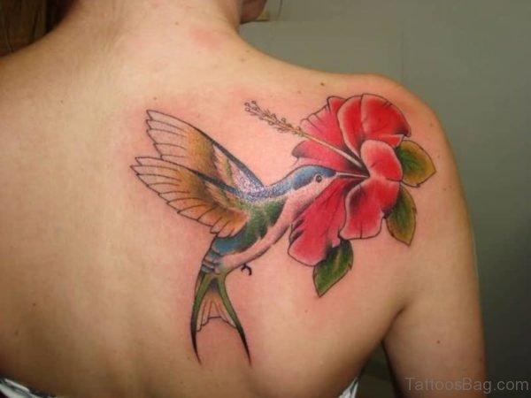Lovely Hummingbird Tattoo On Back
