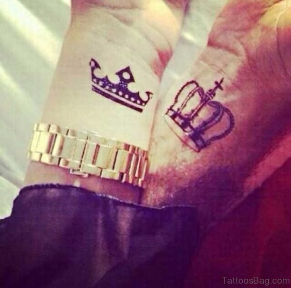 Lovely King And Queen Crown Tattoo