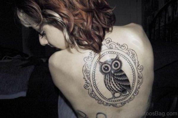 Lovely Owl Bird Tattoo