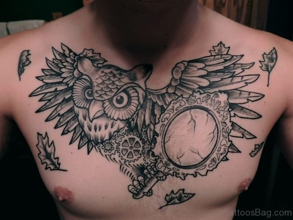 Lovely Owl Tattoo On Chest