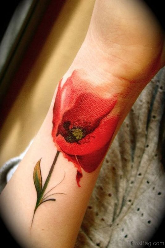 Lovely Red Flower Wrist Tattoo