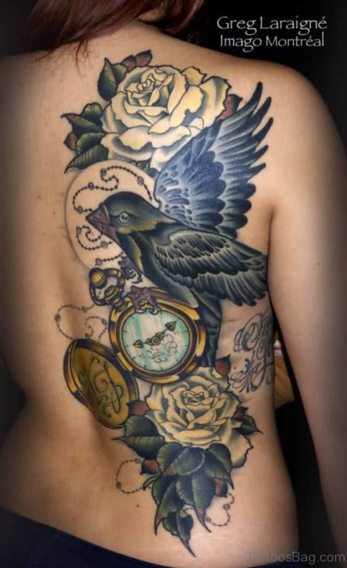 Lovely Rose Bird And Clock Tattoos On Half Back