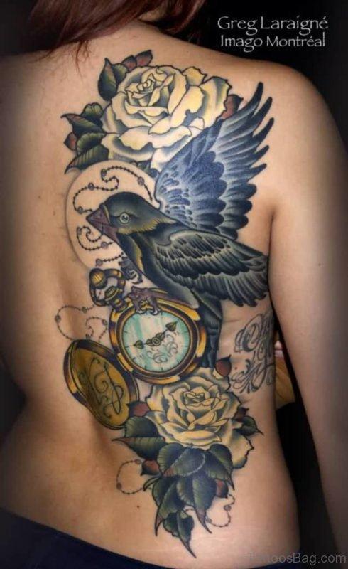Lovely Rose Bird And Clock Tattoos On Half Back