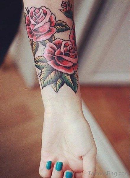 Lovely Rose Tattoo On Wrist