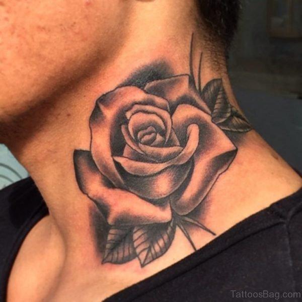 Lovely Rose Tattoo On Neck