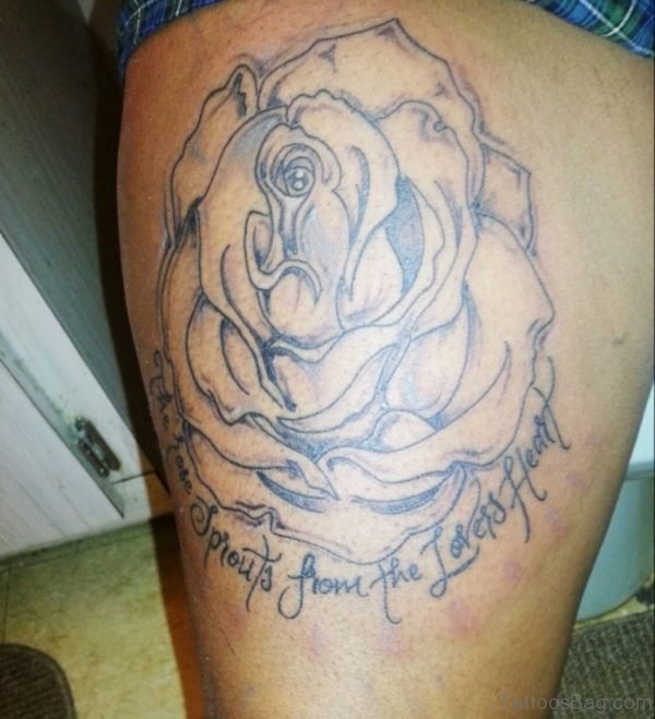 Lovely Rose Tattoo On Thigh