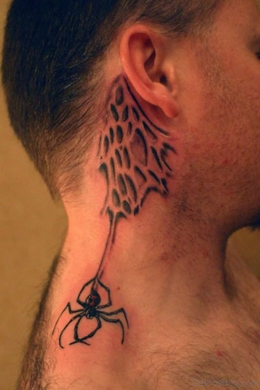 Lovely Spider Wed Tattoo