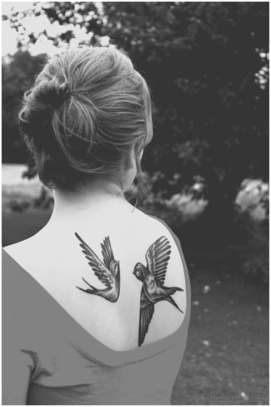 Lovely Swallow Back Tattoo