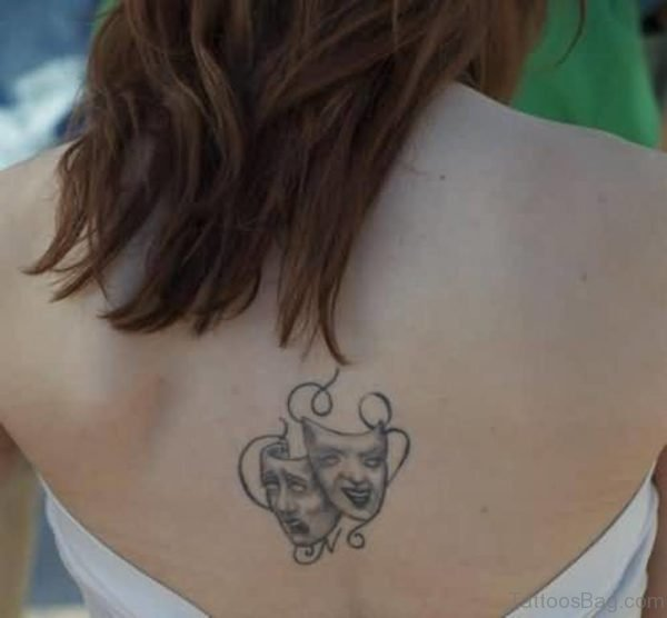 Lovely Theatre Mask Tattoo On Back