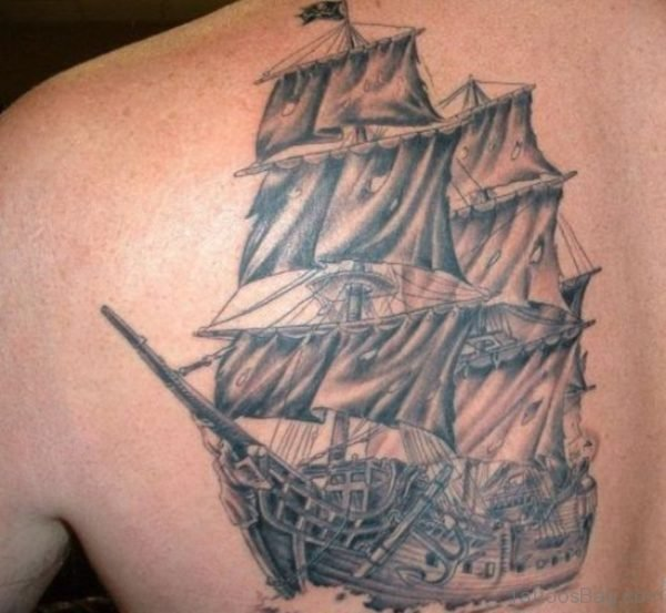 Lovely Viking Ship Tattoo On Shoulder Back