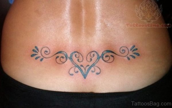 Lower Back Tribal Heart Tattoo
