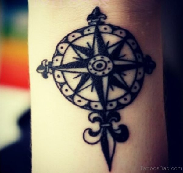 Magnetic Compass Tattoo
