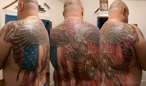Magnificent Patriotic Tattoo On Back