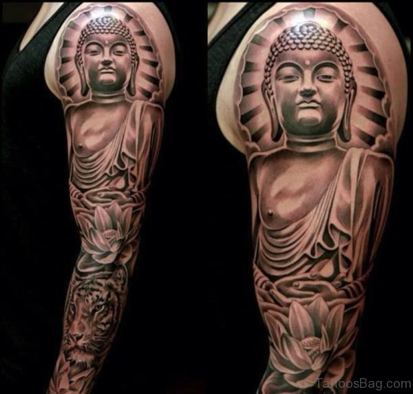 Mahatma Buddha Face Tattoo On Shoulder