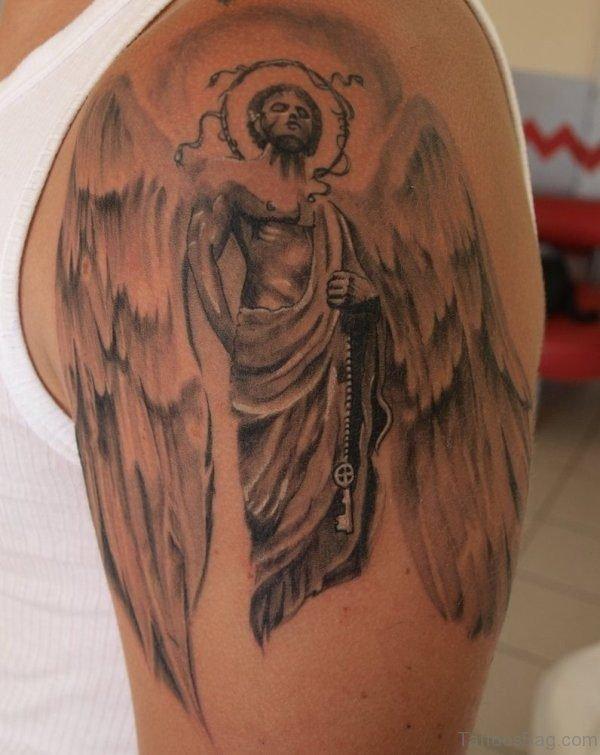 Man Angel Shoulder Tattoo