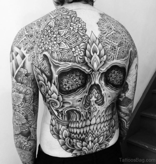 Mandala Skull Tattoo On Full Back