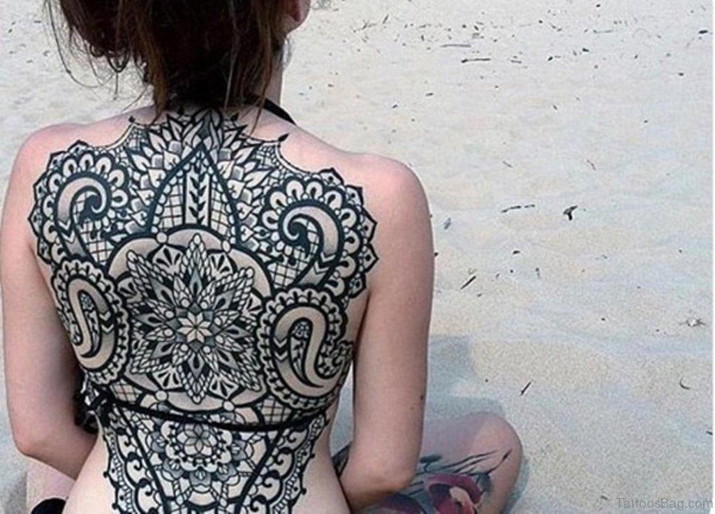 66 modern mandala tattoos on back for Full lower back tattoos