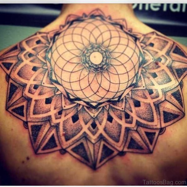 Mandala Tattoo On Upper Back