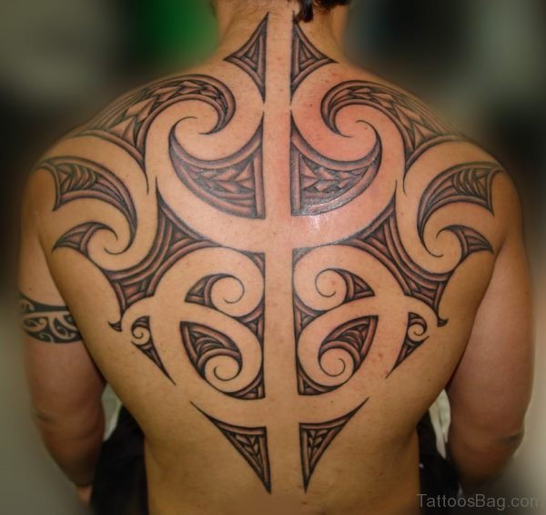 Maori Tribal Tattoo On Back