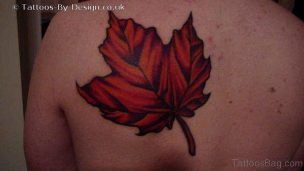 Maple Leaf Tattoo On Back