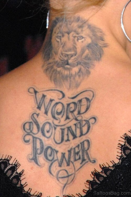 Marvelous Lion Tattoo On Neck